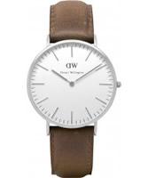 Buy Daniel Wellington Mens Cardiff Silver Brown Leather Strap Watch online