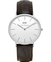 Buy Daniel Wellington Mens York Silver Brown Leather Strap Watch online