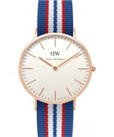Buy Daniel Wellington Mens Belfast Rose Red White and Blue Nato Strap Watch online