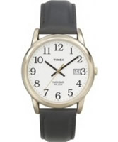 Buy Timex Mens Easy-To-Read White Dial Black Leather Strap Watch online