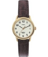Buy Timex Ladies Natural Dial Brown Leather Strap Watch online