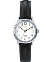 Buy Timex Ladies White Face Black Leather Strap Watch online