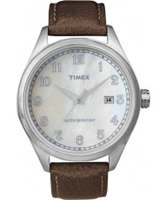 Buy Timex Originals Unisex T Series Mop Dial Brown Leather Strap Watch online