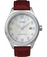 Buy Timex Originals Unisex T Series Mop Dial Red Leather Strap Watch online