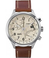 Buy Timex Intelligent Quartz Mens Cream and Brown Fly Back Chronograph Watch online
