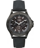 Buy Timex Mens Retrograde Black Leather Watch online