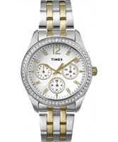 Buy Timex Ladies Chrome Multi Two Tone Watch with Crystals online