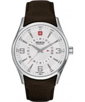 Buy Swiss Military Mens Silver and Brown Navalus Watch online