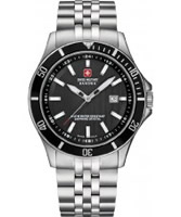 Buy Swiss Military Mens Black and Silver Flagship Watch online