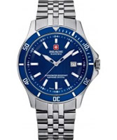 Buy Swiss Military Mens Blue and Silver Flagship Watch online