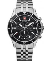 Buy Swiss Military Mens Black and Silver Flagship Chrono Watch online
