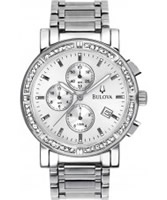 Buy Bulova Mens Diamond All Silver Chronograph Watch online
