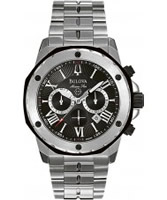 Buy Bulova Mens Marine Star Chronograph Black Steel Watch online