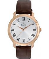 Buy Bulova Mens Dress White Brown Watch online
