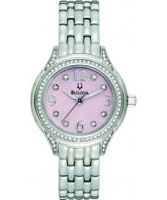 Buy Bulova Ladies Crystal Silver Pink Watch online