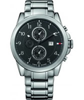 Buy Tommy Hilfiger Mens Black and Silver Bayside Chronograph Watch online