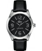 Buy Lacoste Mens Black Montreal Leather Strap Watch online