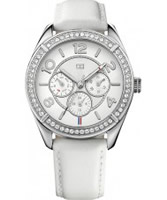 Buy Tommy Hilfiger Ladies Silver and White Gracie Chronograph Watch online