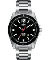 Buy Lacoste Mens Black and Silver Seattle Watch online