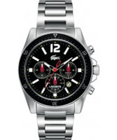 Buy Lacoste Mens Black and Silver Seattle Chronograph Watch online