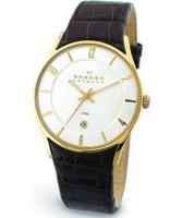 Buy Skagen Mens Leather Gold Brown Watch online
