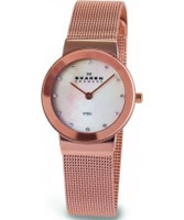 Buy Skagen Ladies White Rose Gold Klassik Mesh Watch online