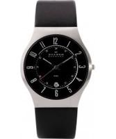 Buy Skagen Mens Black Klassik Leather Strap Watch online