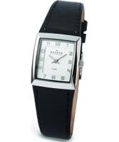 Buy Skagen Ladies Chrome Black Klassik Leather Watch online