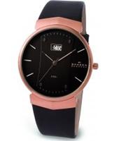 Buy Skagen Mens Leather Black Watch online