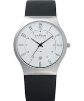 Buy Skagen Mens Chrome and Black Klassik Leather Strap Watch online
