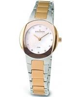 Buy Skagen Ladies Links White Steel Gold Watch online