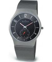 Buy Skagen Mens Grey Carbon Fibre Titanium Mesh Watch online