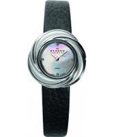Buy Skagen Ladies Black Leather Watch online