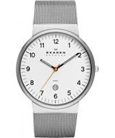 Buy Skagen Mens White and Silver Klassik Watch online