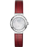 Buy Skagen Ladies Pearl and Red Klassik Dress Watch online
