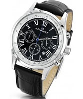 Buy Kennett Mens Savro Classic Black Leather Strap Watch online