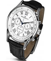 Buy Kennett Mens Savro Classic White and Black Leather Strap Watch online