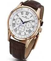 Buy Kennett Mens Savro Classic White and Brown Leather Strap Watch online