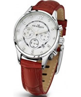 Buy Kennett Ladies Chronograph Savro Silver and Red Strap Watch online