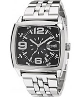Buy Just Cavalli Mens Black and Silver Screen Watch online
