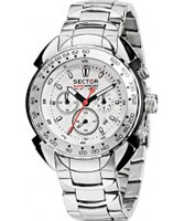 Buy Sector Mens Shark Master Chronograph White Steel Watch online