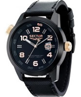 Buy Sector Mens Oversize Black Leather Watch online