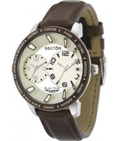 Buy Sector Mens 400 Range Dual Time Brown Leather Watch online