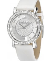 Buy Just Cavalli Ladies Silver and White Moon Watch online