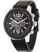 Buy Sector Mens Overland Multi Dial Black Leather Watch online
