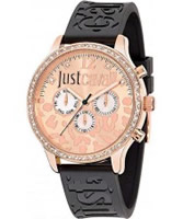 Buy Just Cavalli Ladies Rose Gold and Black Huge Watch online