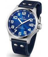 Buy TW Steel Pilot Blue Leather Strap Watch online
