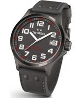 Buy TW Steel Pilot Grey Leather Strap Watch online