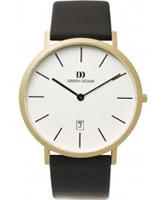 Buy Danish Design Mens Gold Plated Leather Watch online